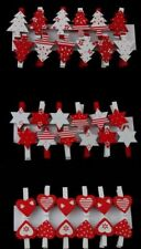 12x Christmas Wooden Clips Pegs Xmas Card Holder Decoration Trees Hearts Stars