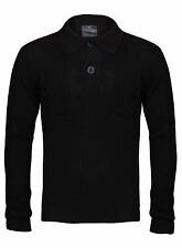 New Mens Black Button Up Collared Neck Knitwear Jumper Size S-XXL