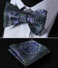 BF423G Green Blue Floral Silk Men Woven Self Bow Tie Pocket Square Set