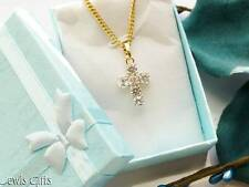 gold chain crusifix cross pendant necklace crystals mens ladies teens gift boxed