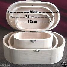 PLAIN WOODEN VANITY OVAL BOXES UN PAINTED JEWELLERY/TRINKET DECOUPAGE ART CRAFT