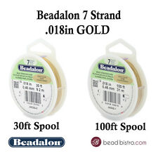 "Beadalon 7 Strand GOLD .018"" Flex Beading Wire - 30ft or 100ft Spools"