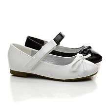 Gloria59K Chlidrens Girls Bow Mary Janes Hook And Loop Dress Flats