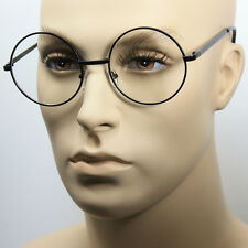 Large Oversized Big Round Metal Frame Clear Lens Round Circle Eye Glasses Black