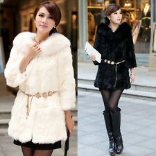 Women Winter Collar Warm Faux Fur Long Sleeve Jacket Coat Outwear Black/White