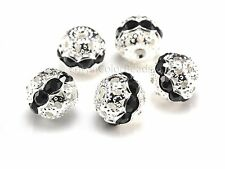 Rhinestone ball bead, black rhinestone, silver plated, 6-10mm, black ball bead