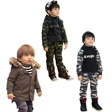 Boys Infant Winter Coat Hooded 1-7Y Army Uniform Pants Leggings Outfits Clothing