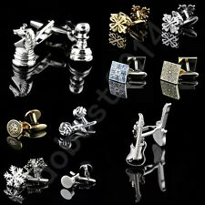 Novelty Silver Gold Stainless Steel Mens Wedding Shirt Gift Vintage Cufflinks