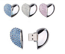 Jewelry Crystal diamond heart shape USB 2.0 8GB-64GB flash drive memory stick