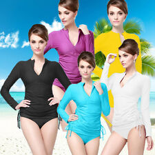 Women's Long Sleeve  Tops Scuba Snorkel Surfing Suits Rash Guards Swimsuit
