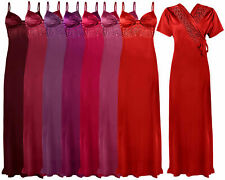 LADIES SATIN LACE LONG NIGHTDRESS NIGHTY CHEMISE EMBROIDERY DETAILED SIZE 8-18