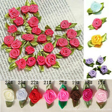 200 Ribbon Rose DIY Wedding Flower Satin Decor Bow Appliques Craft Sewing Leaves
