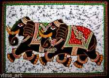 elephant good luck batik wall hanging hand paint tapestry India ethnic decor art