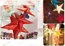 4Pcs 3D Paper Star Lampshade Lantern Xmas Christmas Party Home Bar Hanging Decor