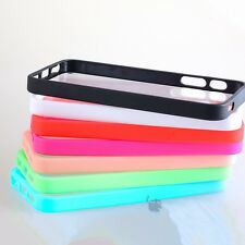 Generic Soft TPU Bumper Frame with Hard Clear Case Cover Skin for iPhone 5 5S
