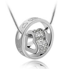 Heart Ring Crystal Rhinestone Necklace Pendant  Xmas Gift For Wife Daughter  SH