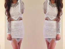 4340 Womens Crop Top and Skirt Clothing Set Sexy Two-piece Lace Bodycon Dress