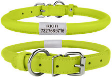 Rolled Round Leather Lime Dog Collar Soft Padded 7 Sizes
