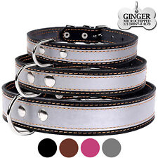 Leather Dog Collar Personalized Laser Engraved ID TAG Puppy Small Medium Large