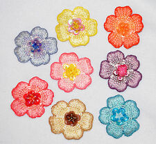 Three bead &.sequin flowers - card making iron/sew on embroidered motifs 3D
