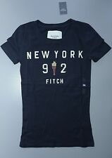 New Womens Abercrombie & Fitch T Shirt XS S M L Graphic Tee Navy Blue A&F Torch