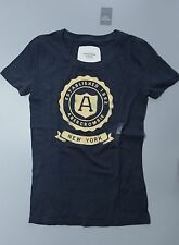 New Womens Abercrombie & Fitch T Shirt XS S M L Graphic Tee Navy Blue A&F