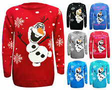 Kids Do You Want To Build A Snowman Olaf Frozen Christmas Jumper Top Xmas Gift
