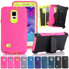Premium Rugged Heavy Duty Case Cover + Belt Clip Holster For Samsung Galaxy Note
