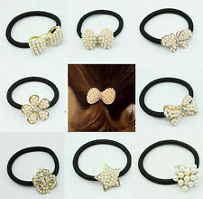 Fashion Elegant Women Crystal Rhinestone Pearl Elastic Hair Band Ponytail Holder