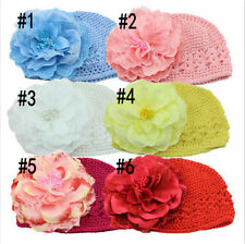 Sweet Flower Crochet Beanie Knitted Hat For Newborn Baby Toddlers Girls Cap New