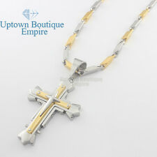 """24"""" men stainless steel gold Silver cross pendant 5mm bullet Necklace Chain #01"""