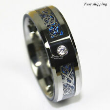 8Mm CZ Silver Celtic Dragon Tungsten Carbide  Ring Men Jewelry Wedding Band