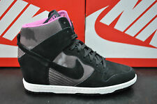 NIKE DUNK SKY HI PRINT HI TOP HEELS WEDGE BLACK WHITE WOMENS LADIES 543258 001