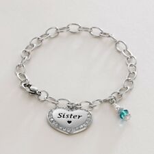 Chain Bracelet with Birthstone & Daughter, Mum, Nanny, Sister, Mummy Charm etc