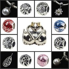 Authentic .925 Sterling Silver European Style Crystal stone bead & pendant charm