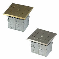 Square Electrical Floor Box Kit TWR Receptacle Outlet Duplex Ports 2-Gang