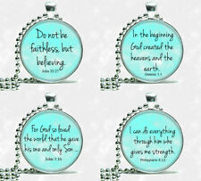 Inspirational Scripture Bible Quote Verse Silver Tone Ball Chain Necklace