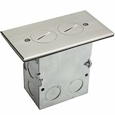 Brass or Stainless Steel 1-Gang Floor Box W/ 15A Duplex TR Outlet/Receptacle