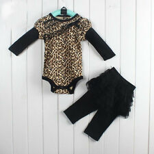 baby clothing set girl 100% cotton leopard rompers+pants sets children outfits