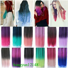 Colorful Long Straight 5 Clips On Hair Piece Extension 15 Colors 26-inch (65cm)