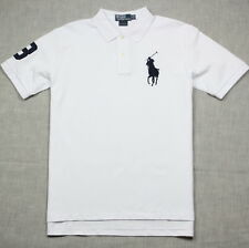 New Polo Shirt Ralph Lauren Custom Fit Big Pony Men's White / Navy