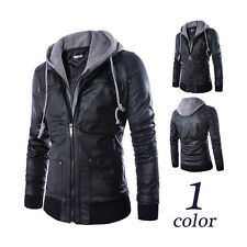 Mens Clothes Jackets Coat Fashion Slim Hooded Leave Two PU Leather Motorcycle IN