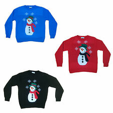 KIDS BOYS GIRLS XMAS CHRISTMAS NOVELTY SNOWMAN BUTTONS FESTIVE JUMPER SWEATER