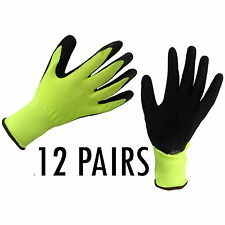 12 x LATEX COATED SAFETY WORK GLOVES THERMAL PU GRIP BUILDERS MECHANIC FL-61-HYB