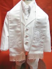 Baby Boy Christening Baptism/scarf Suit/6 pcs/ Size: S to 4T   White MY BAPTISM!