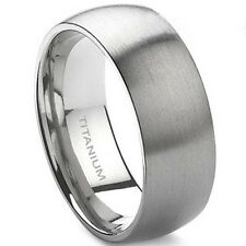 10MM Solid Pure Titanium Ring Brushed Wedding Men Engagement Comfort Fit Xmas
