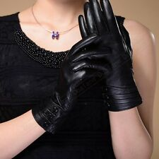 New Women's GENUINE LAMBSKIN leather Warm Thermal Insulation Winter gloves