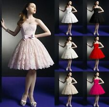 2015 Knee Length Lace Ball Party Prom Bridesmaid Bridal Wedding Dress Size 6-16