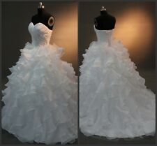 White/Ivory Organza Wedding Dress Bridesmaid Bridal Gown Size 6+8+10+12+14+16