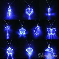 Glamor Led Blue Magnetic Light Pendant Necklace Xmas Birthday Dancing Party Gift